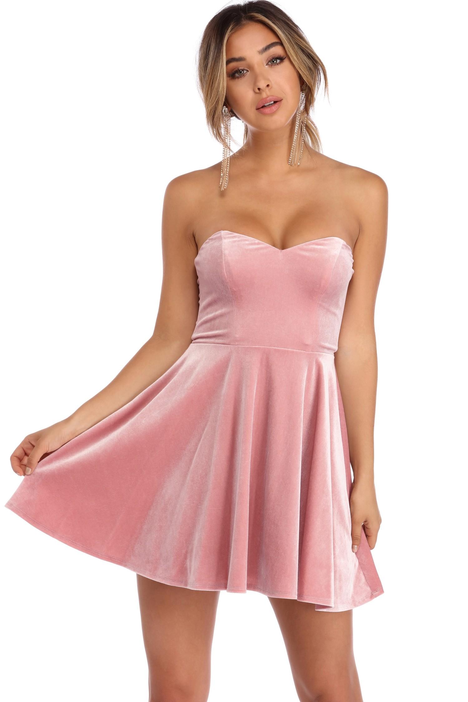pink dress kiera pink velvet strapless party dress mcdvkog