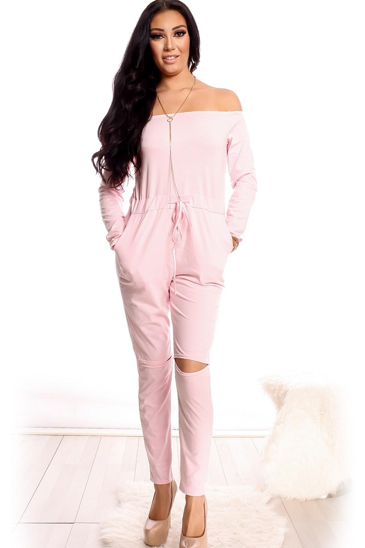 pink jumpsuit off the shoulder long sleeve cutout knees drawstring bnncxxr