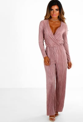 pink jumpsuit sundown rose pink pleated long sleeve wrap jumpsuit ... ncflxdw