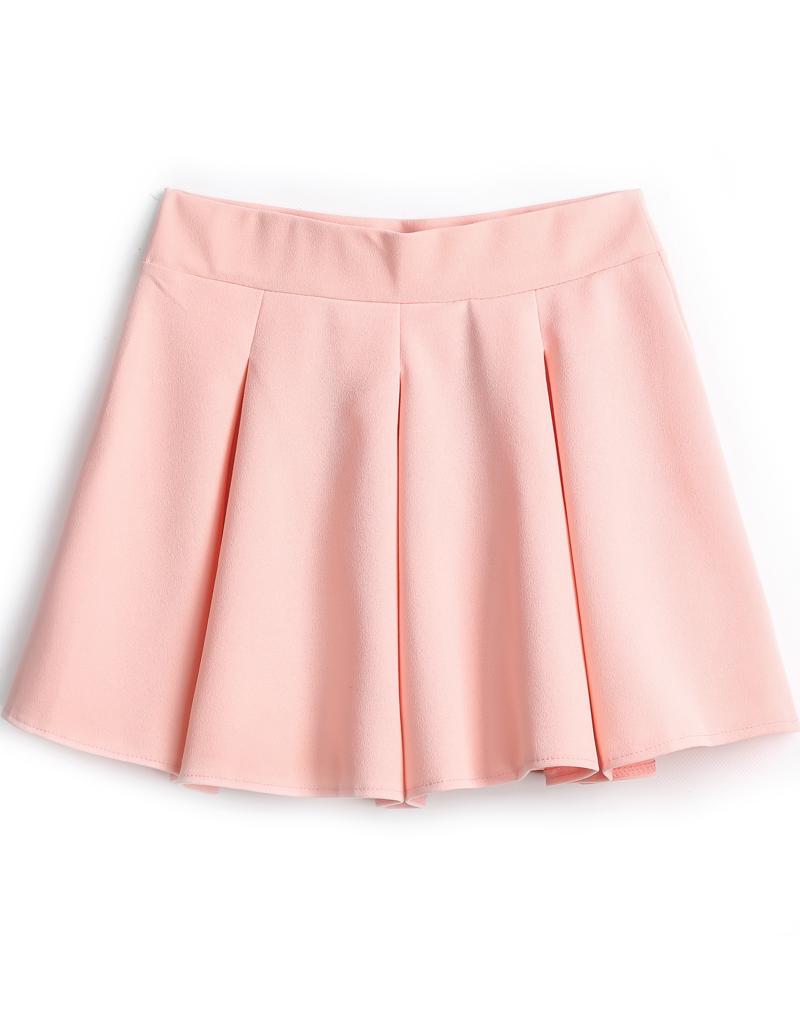 pink skirt pink simple design pleated skirt -shein(sheinside) tbptfab