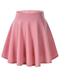 pink skirt womenu0027s basic versatile stretchy flared casual mini skater skirt mucwctz