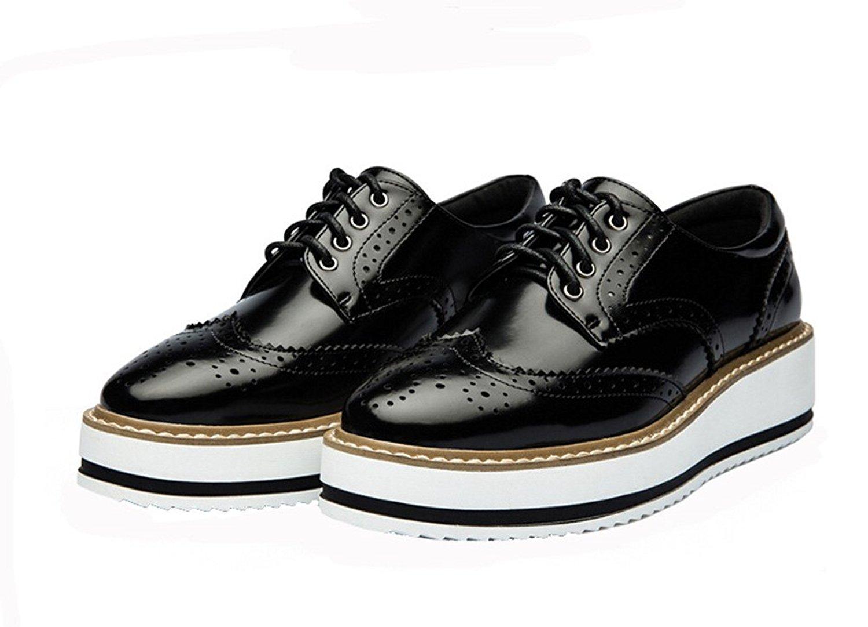 platform shoes for women amazon.com | laikajindun women retro platform flat shoe leather casual  oxford shoe gscmevp