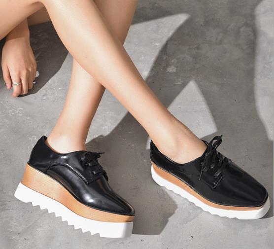 platform shoes for women spring women platform shoes woman brogue patent leather flats lace up  footwear najpzqc