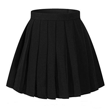 pleated skirt girlu0027s solid pleated high waist cosplay skirts(xs,black) mxwlagl