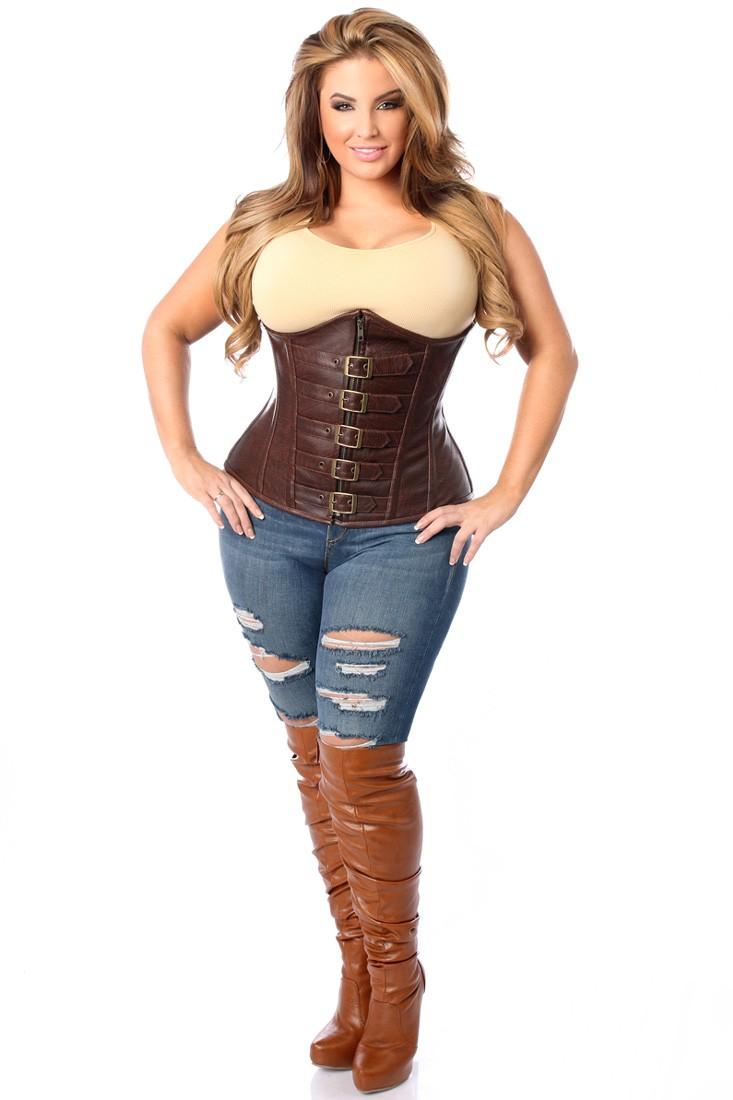 plus size corset top drawer dark brown distressed faux leather underbust buckle plus size  corset yajmczj