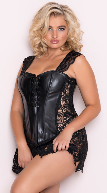 plus size corsets plus size faux leather and venice lace corset, plus size venice lace lyztbfv