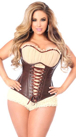 plus size corsets plus size faux leather steel boned ren faire corset, plus size brown faux ttzzzdq