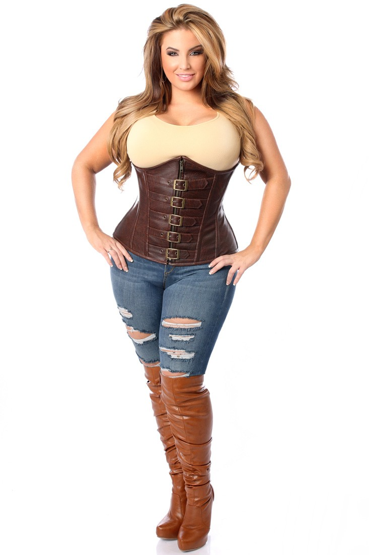 plus size corsets top drawer dark brown distressed faux leather underbust buckle plus size  corset xexpqfa