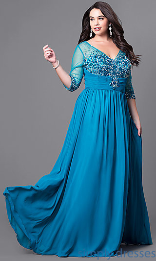 plus size formal dresses 3/4-sleeve plus-size formal dress with beading . nagbscv