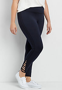 plus size leggings plus size spacedye 7/8 legging with strappy hem zecdelp