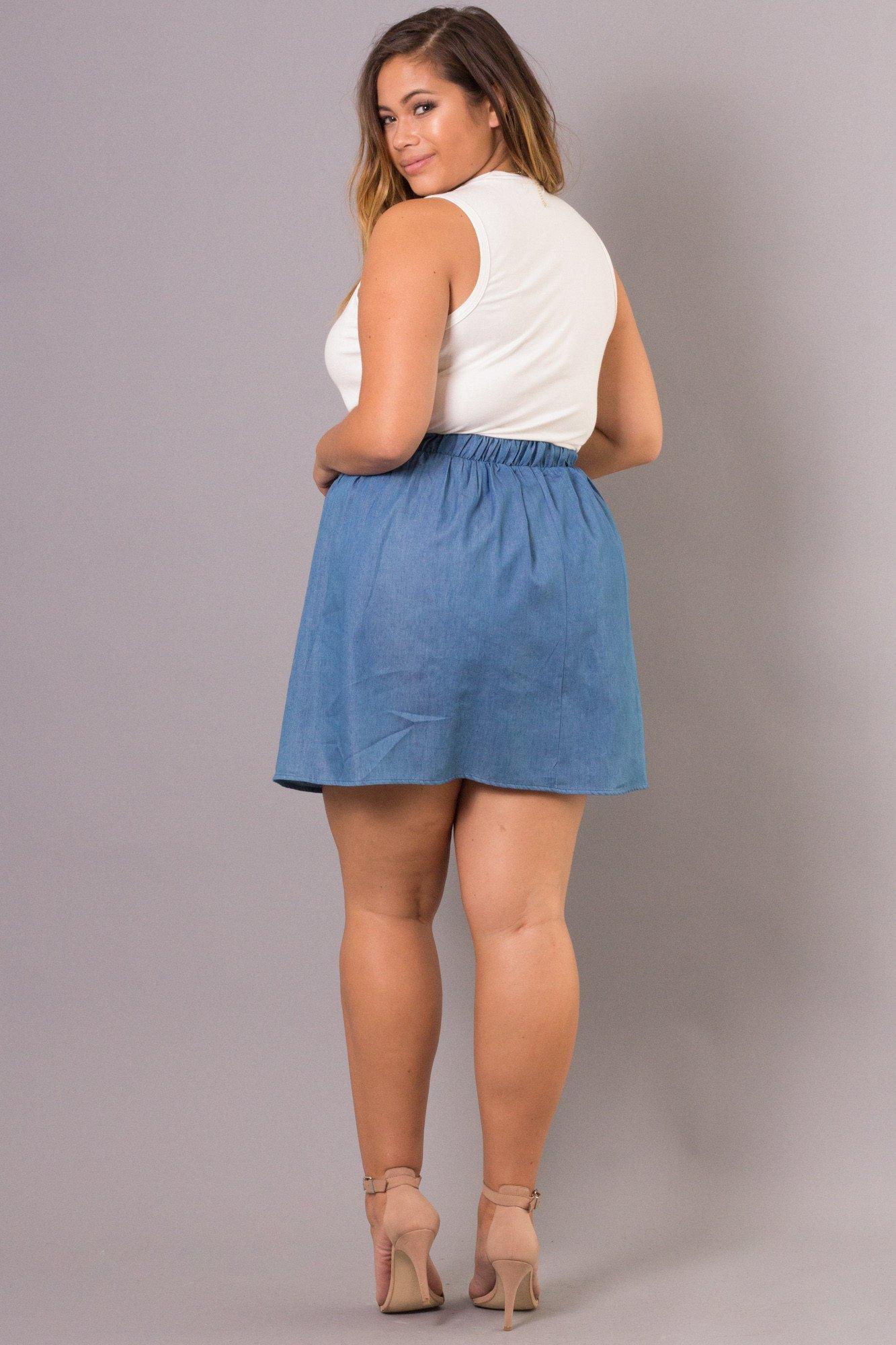 plus size skirts ... bottoms - plus size denim mini skirt - medium blue ... rnnvdqe