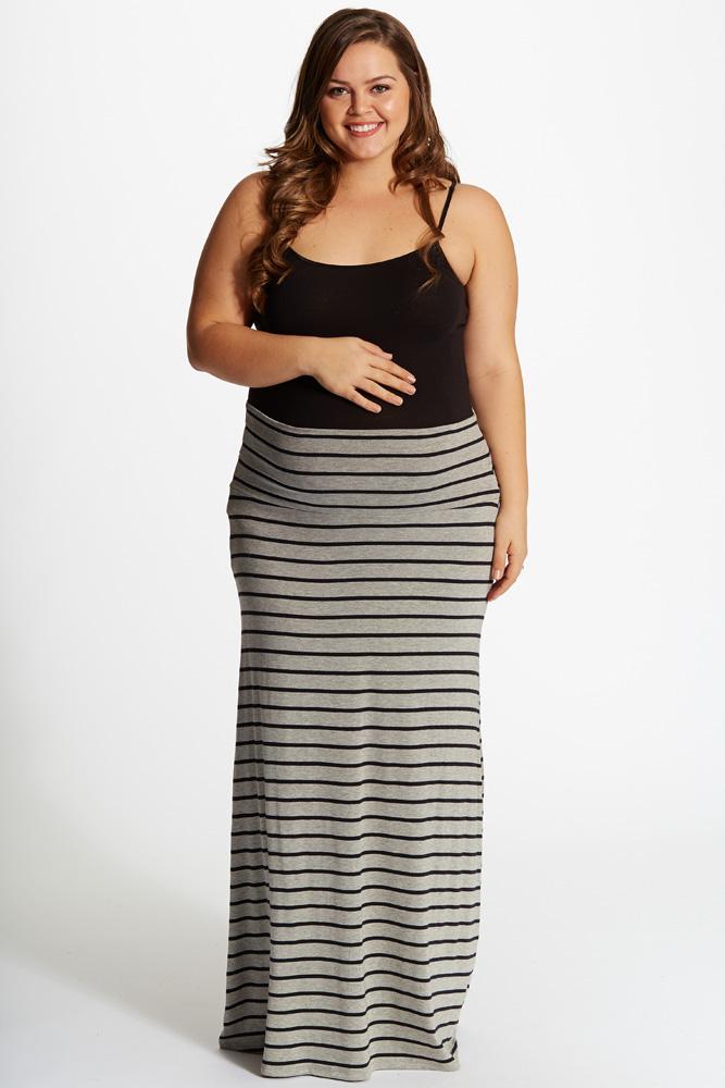 plus size skirts grey black striped plus size maxi skirt obqyynr