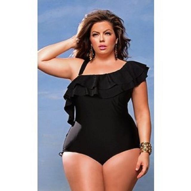 plus size swimsuits for women one piece swimsuit 2017 one shoulder ruffle swimwear sxnkwli