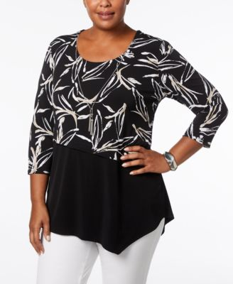 plus size tops jm collection plus size asymmetrical layered necklace top, created for  macyu0027s atjlywk