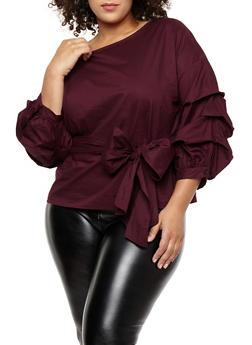 plus size tops plus size tie waist ruched sleeve top - 1925069399204 pcwnblb