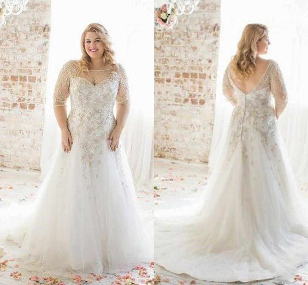 plus size wedding dress plus size wedding dresses 2018 boat neck half sleeve appliques lace wedding hfupgee