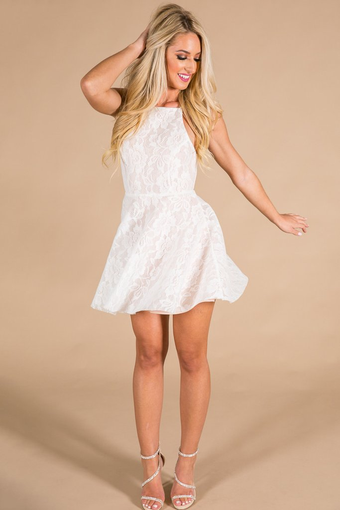 pretty dresses all things pretty lace fit and flare dress in white nlbbdgc