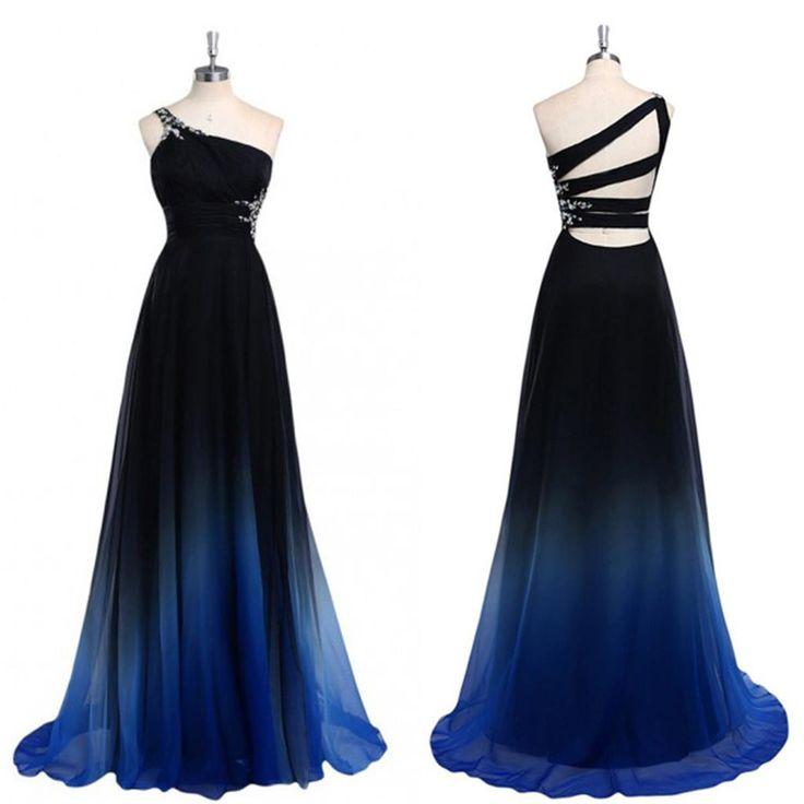 pretty dresses chiffon cheap one off shoulder gradient popular custom unique pretty prom  dresses libhjzg