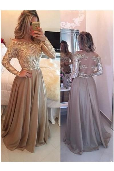 prom dresses with sleeves a-line cowl gold long prom dresses,long sleeves evening dress n04 xxoonap
