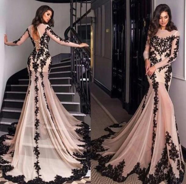 prom dresses with sleeves dress prom dress long sleeve dress champagne dress lace dress mermaid prom vbgwixc