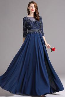 prom dresses with sleeves vintage three quarter sleeve lace chiffon illusion a line prom dress flvhcfd