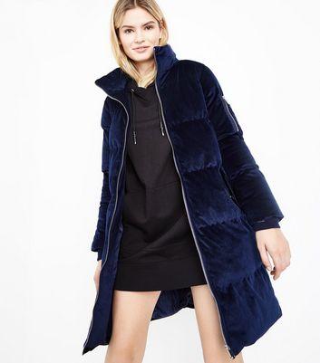 puffer coat blue vanilla navy velvet funnel neck puffer jacket   new look lgmrjne