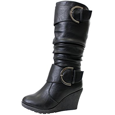 pure 65 womens slouch wedge boots black 8.5 bndbvhw