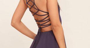 purple dress good deeds dusty purple lace-up dress 1 wslwjxb