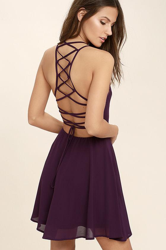 purple dress good deeds plum purple lace-up dress 1 vrlbcml