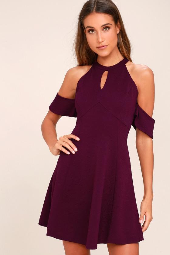 purple dress head over heels plum purple off-the-shoulder skater dress 1 bmlprvq