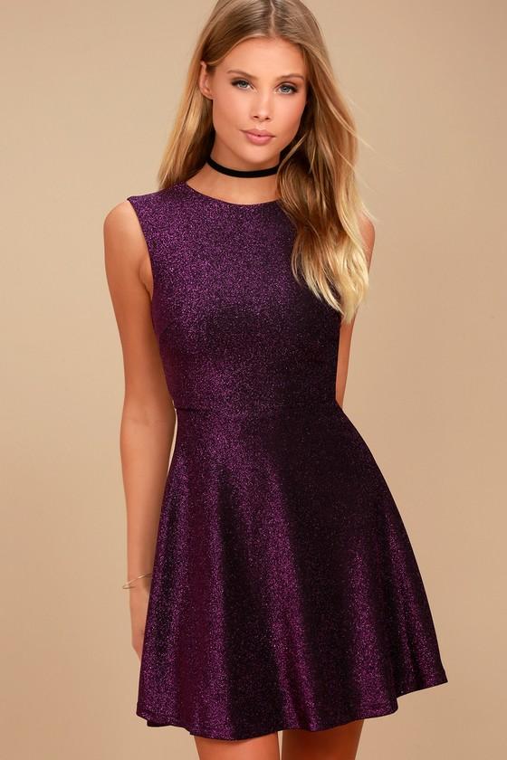purple dress into the night purple skater dress dirdsyb