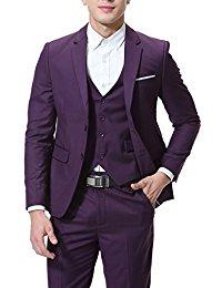 purple suit cloud style menu0027s 3-piece suit 2 buttons slim fit solid color jacket smart xywyxsh