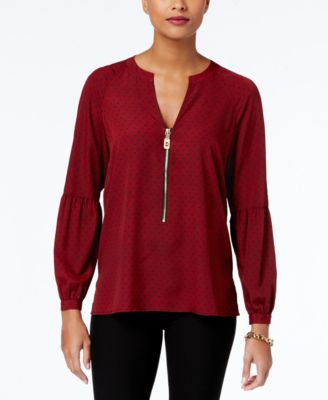 red blouse michael michael kors dog-tag peasant blouse, a macyu0027s exclusive style baxcdxv