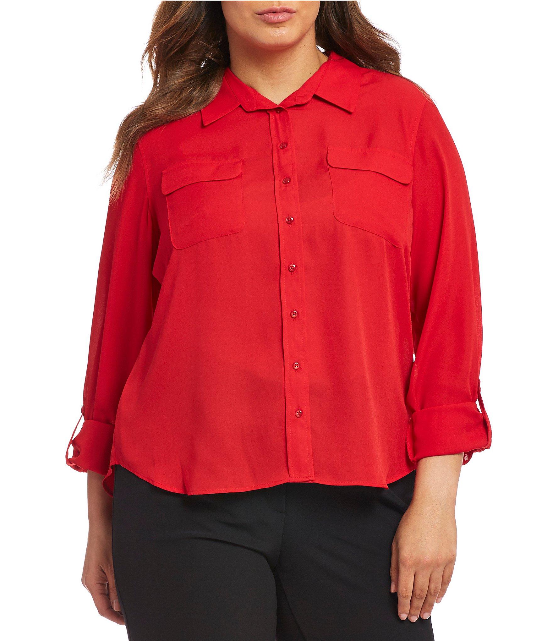 red blouse plus-size tops u0026 blouses | dillards ksrydyy