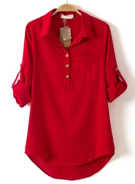 red blouse red lapel long sleeve pocket dipped hem blouse - sheinside.com iydlrea