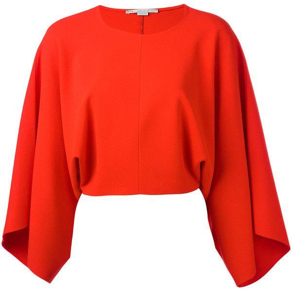 red blouse stella mccartney drape sleeve blouse ($985) ❤ liked on polyvore featuring  tops, yngkksj