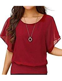 red blouse womenu0027s loose casual short sleeve chiffon top t-shirt blouse jsacsrq