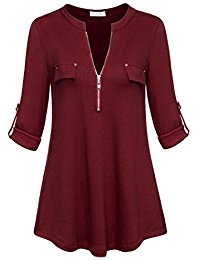 red blouse womenu0027s notch-v neck long sleeve roll-up sleeve zip up casual shirt blouse wnpszxp