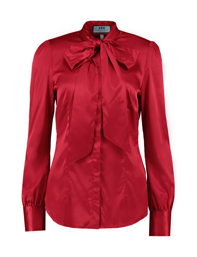 red blouse womenu0027s red fitted luxury satin blouse - pussy bow mqaexjc