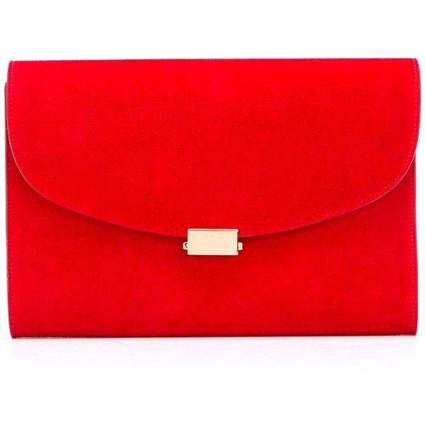 red clutch bag mansur gavriel envelope clutch bag ($772) ❤ liked on polyvore featuring bags, pmjkjbk