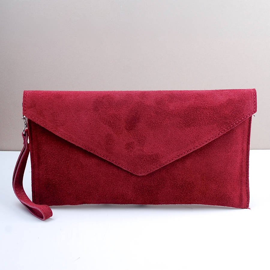 red clutch bag personalised suede envelope clutch berry red olgrovw