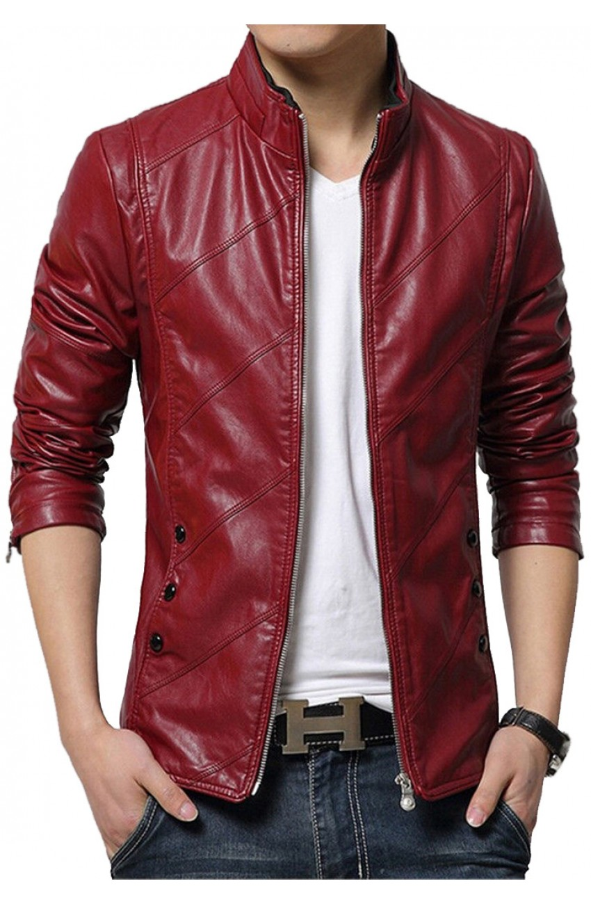 red leather jacket casual style menu0027s slim fit red faux leather jacket vyrqdzv