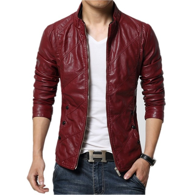 red leather jacket mens leather jacket 2017 autumn winter slim fit faux leather jacket coat bfhneuw