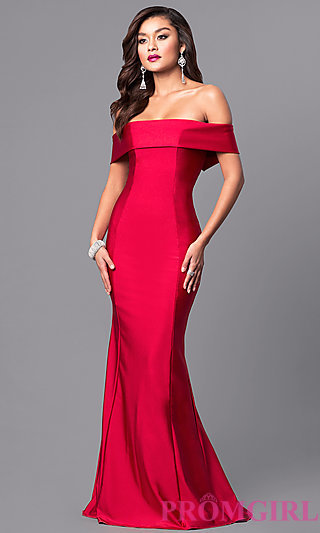 red prom dresses atria off-the-shoulder long prom dress - promgirl mkctwyq