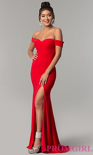 red prom dresses long red off-the-shoulder prom dress - promgirl gkukfra