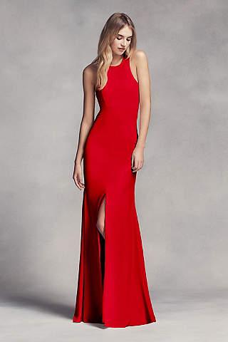 red prom dresses long sheath halter dress - white by vera wang gzkkrfs