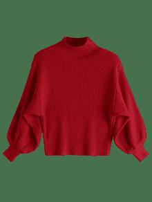 red sweater ... lantern sleeve mock neck sweater ... ybqsnaq