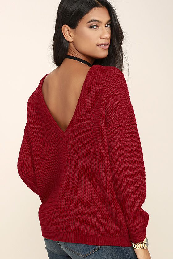 red sweater - oversized sweater - backless sweater - $48.00 spjxitr