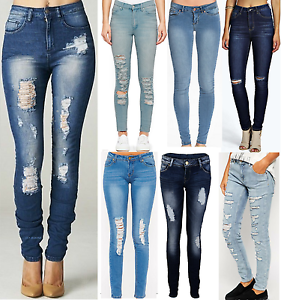 ripped jeans for women image is loading womens-ripped-knee-cut-jeans-faded-slim-fit- vpggblu