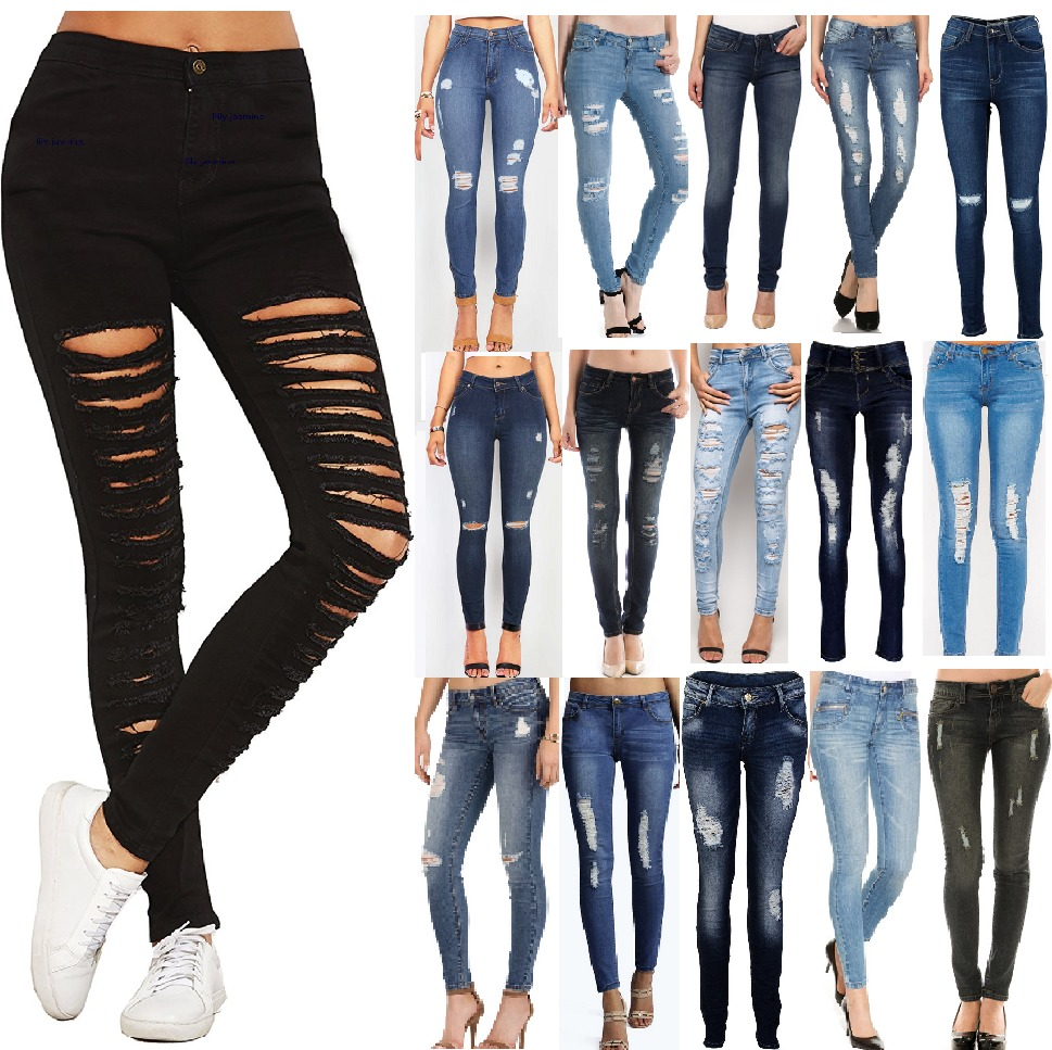 ripped jeans for women new womens ripped jeans knee cut jeggings skinny fit stretchy ladies denim yytevht